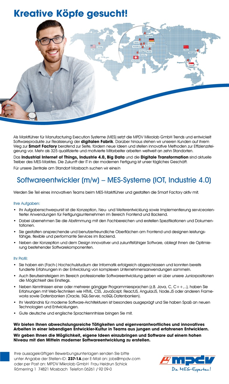 Softwareentwickler (m/w) MES-Systeme (IOT, Industrie 4.0)