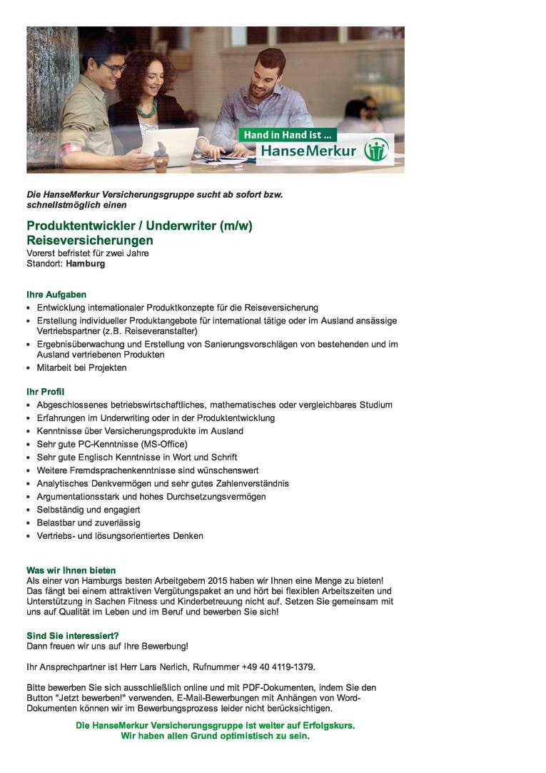 Produktentwickler / Underwriter (m/w) Reiseversicherungen