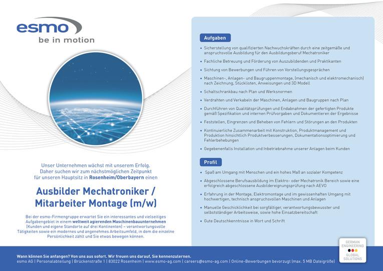 Ausbilder Mechatroniker / Mitarbeiter Montage (m/w)