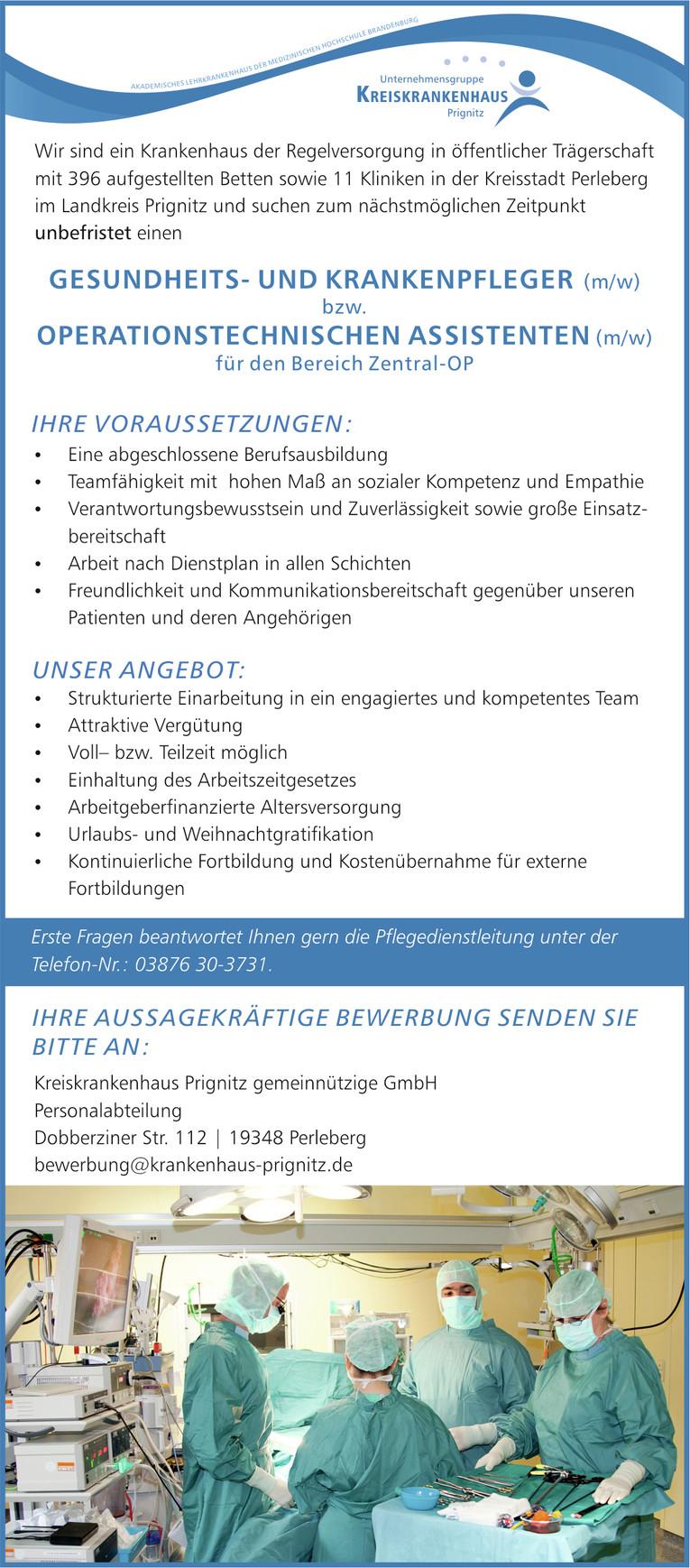 Gesundheits- und Krankenpfleger (m/w) oder OTA (m/w) in Perleberg