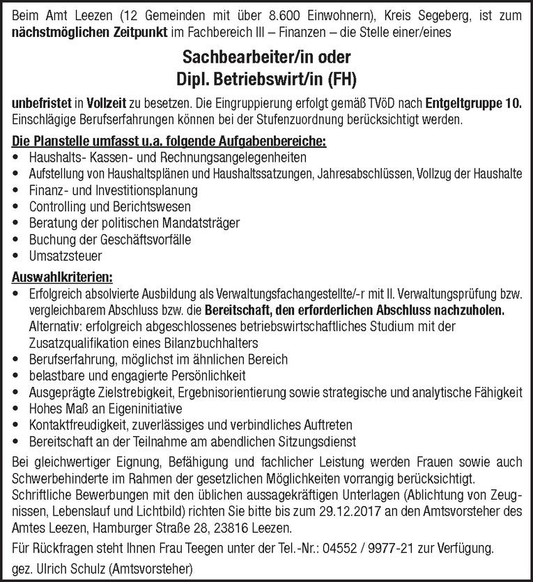 Sachbearbeiter / Dipl. Betriebswirt (m/w)