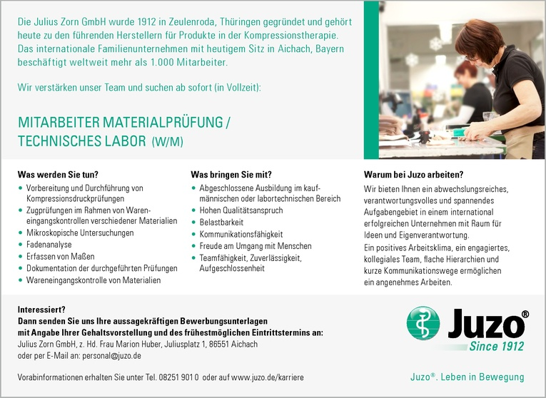 Mitarbeiter Materialprüfung / Technisches Labor (w/m)
