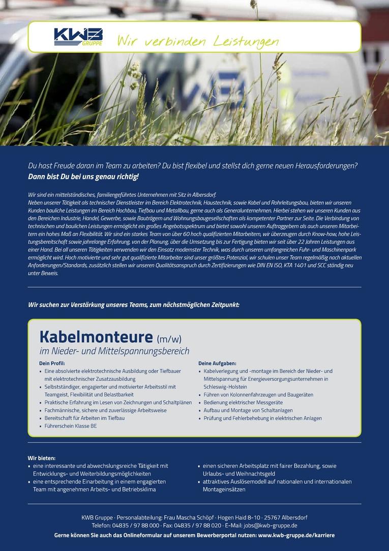 Kabelmonteure (m/w) im Nieder- und Mittelspannungsbereich