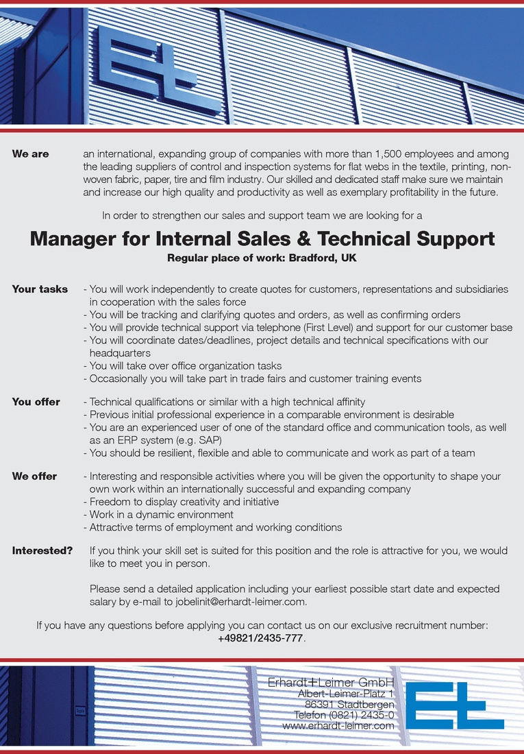 Manager (m/w) for Internal Sales & Technical Support