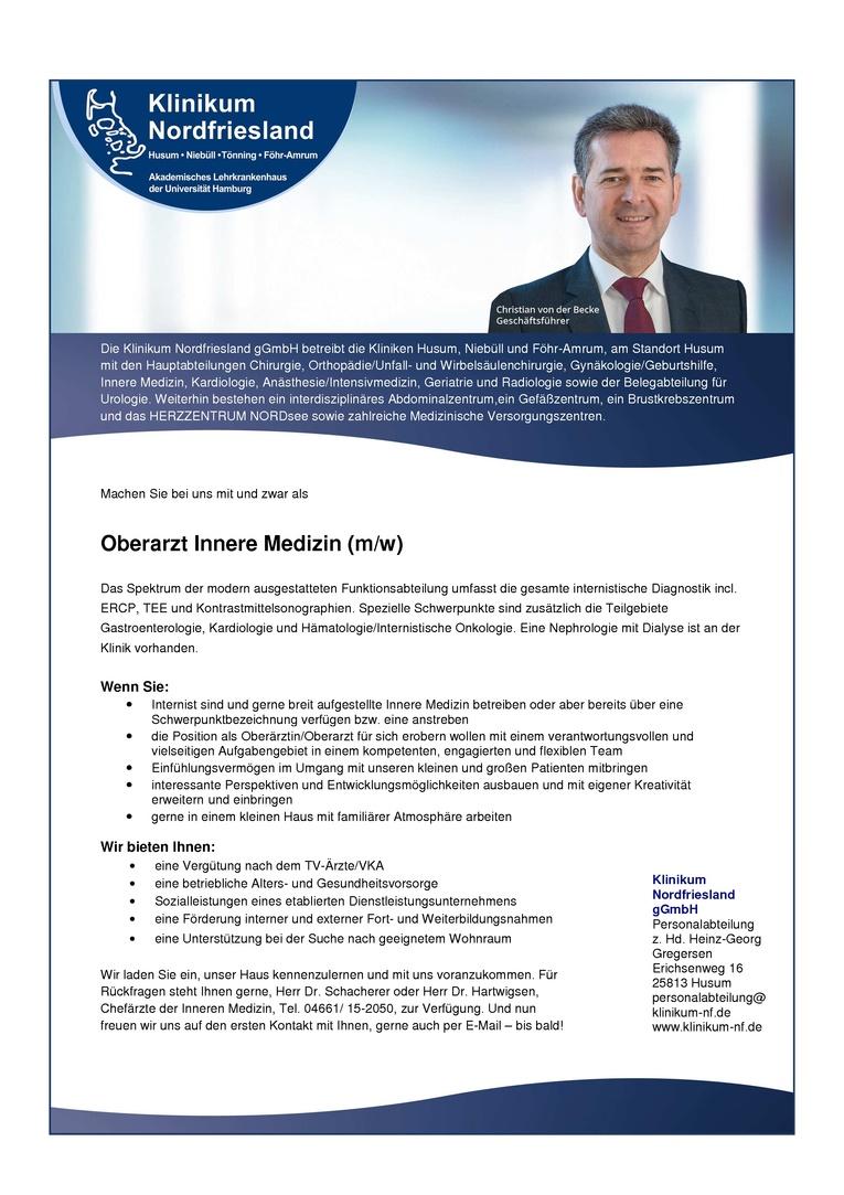Oberarzt Innere Medizin (m/w)