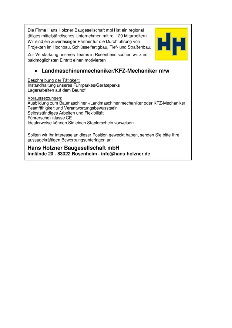 Landmaschinenmechaniker/KFZ-Mechaniker