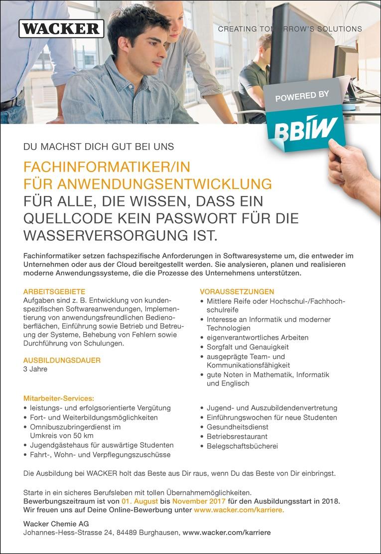 Ausbildung als Fachinformatiker/in für Anwendungsentwicklung