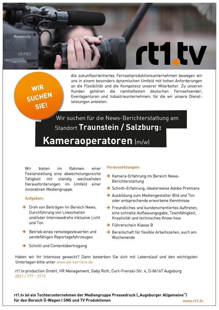 Job Kameraoperatoren Mwd Für Die Standorte Traunsteinsalzburg