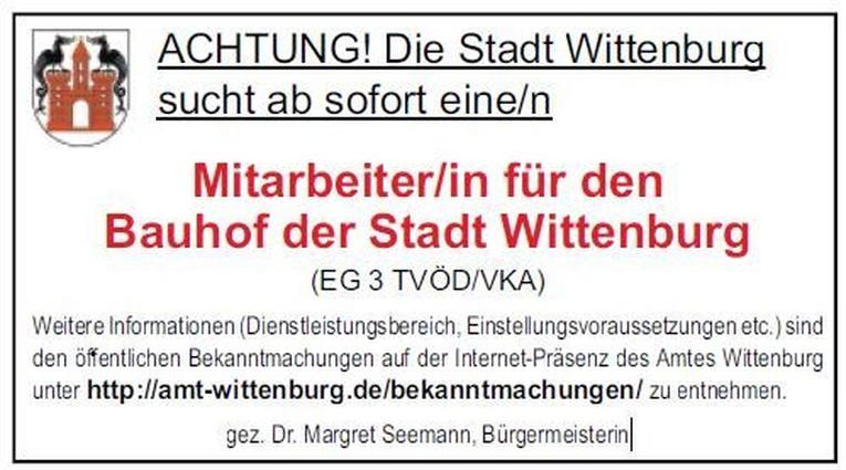 Mitarbeiter/in für den Bauhof der Stadt Wittenburg