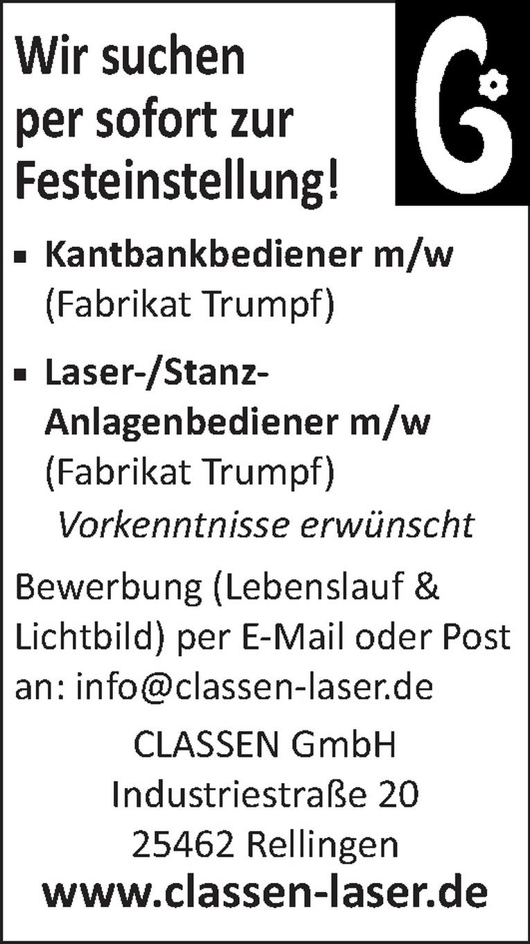 Laser-/Stanz-Anlagenbediener m/w