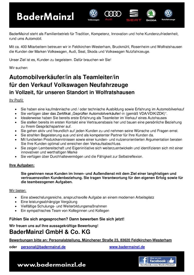 Automobilverkäufer / Automobilverkäuferin als Teamleiter/in Volkswagen