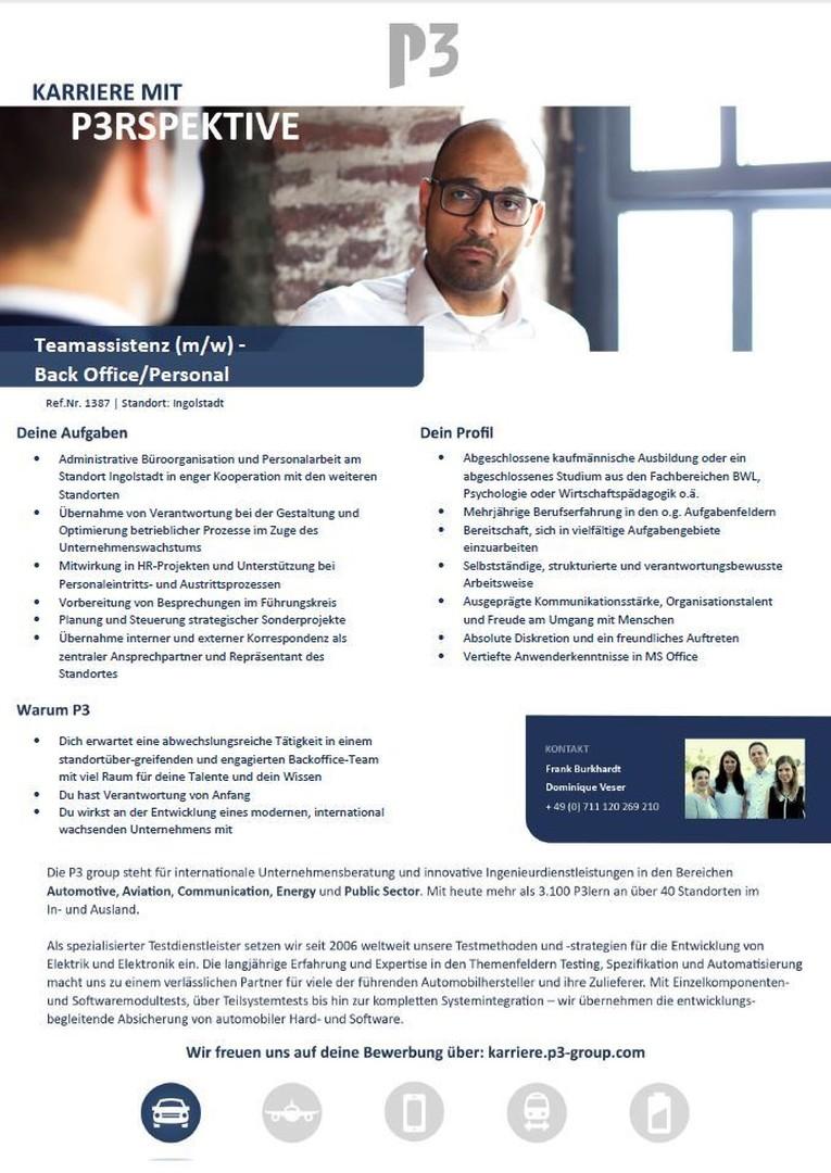 Teamassistenz (m/w) -  Back Office/Personal