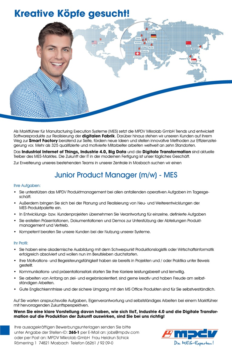Junior Product Manager MES (m/w)