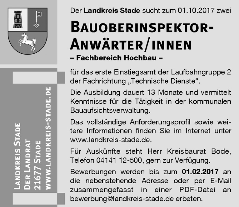 Ausbildung: Bauoberinspektor- Anwärter/innen