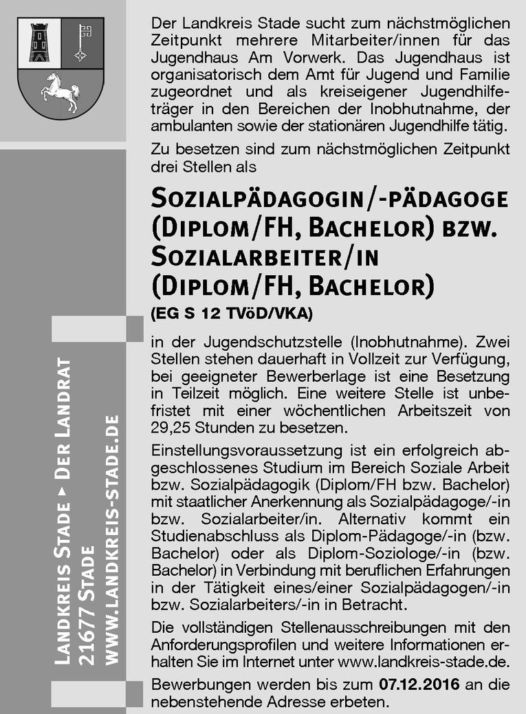 Sozialpädagoge/-in (Diplom/FH, Bachelor)  bzw. Sozialarbeiter/in (Diplom/FH, Bachelor)