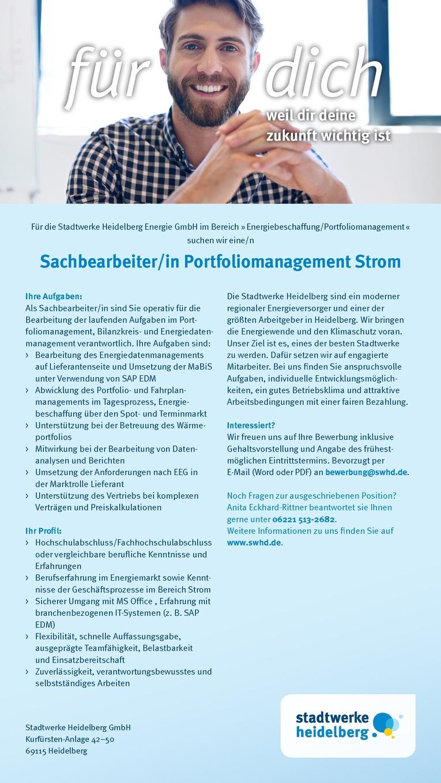 Sachbearbeiter Portfoliomanagement Strom (m/w)