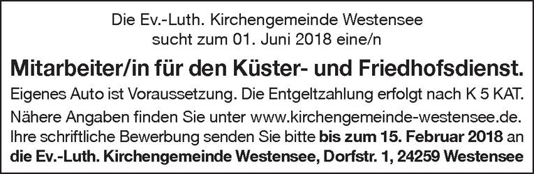 Mitarbeiter/in für den Küster- und Friedhofsdienst