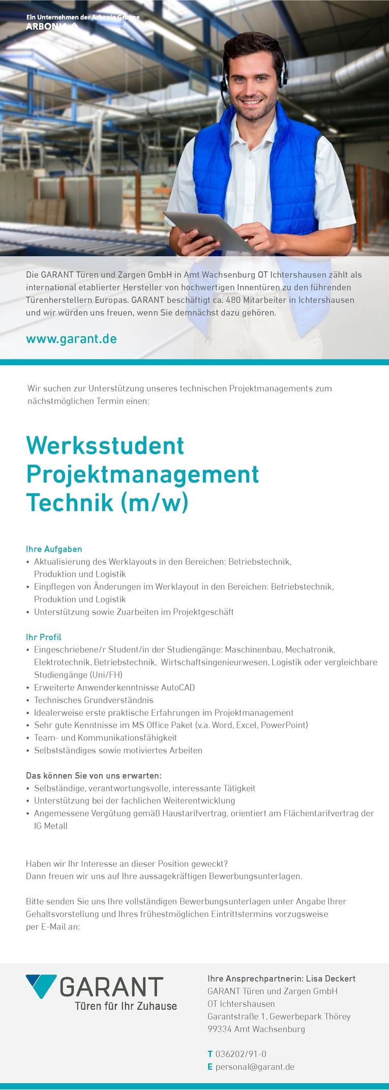 Werkstudent Projektmanagement Technik (m/w)