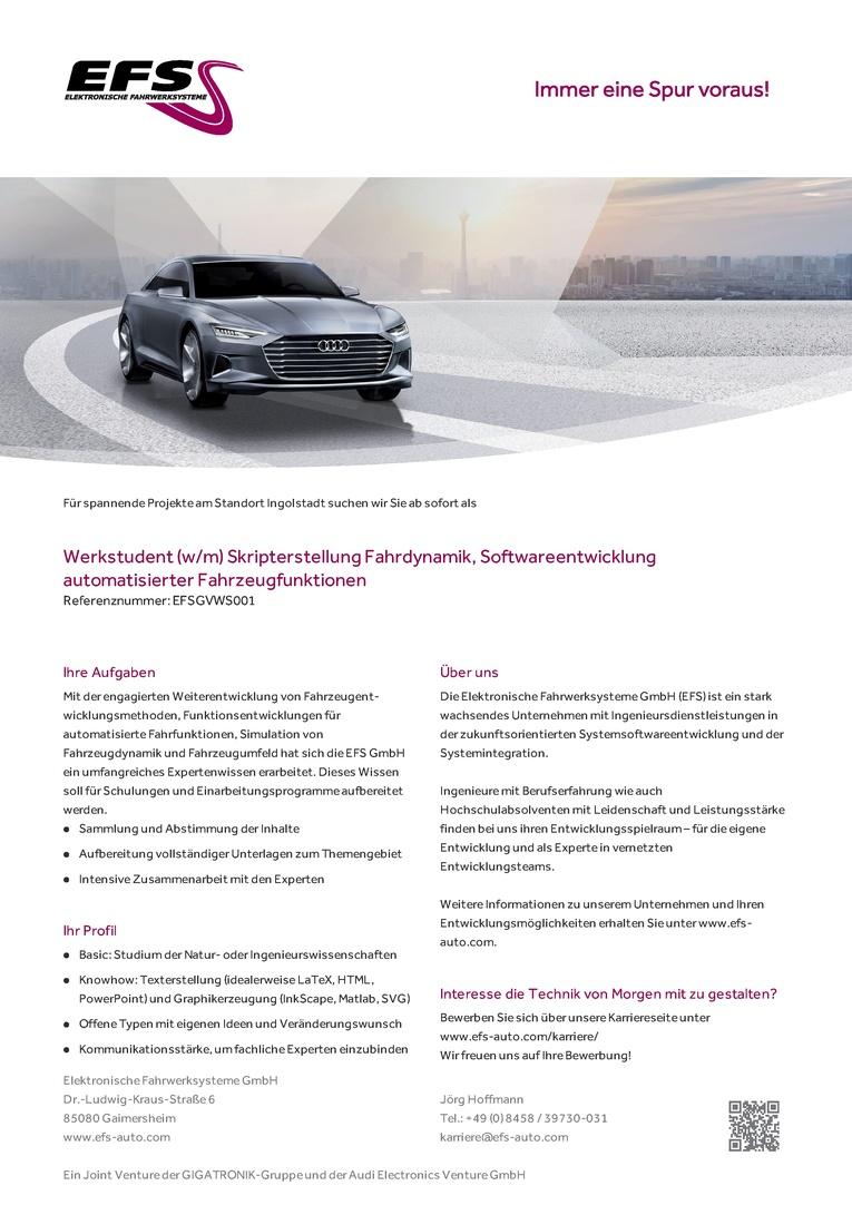 WERKSTUDENT (W/M) SKRIPTERSTELLUNG FAHRDYNAMIK, SOFTWAREENTWICKLUNG AUTOMATISIERTER FAHRZEUGFUNKTIONEN