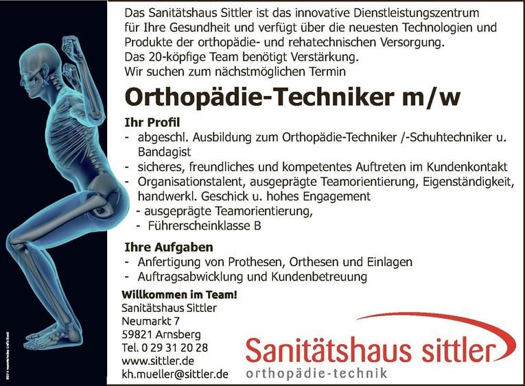Orthopädie Techniker m/w