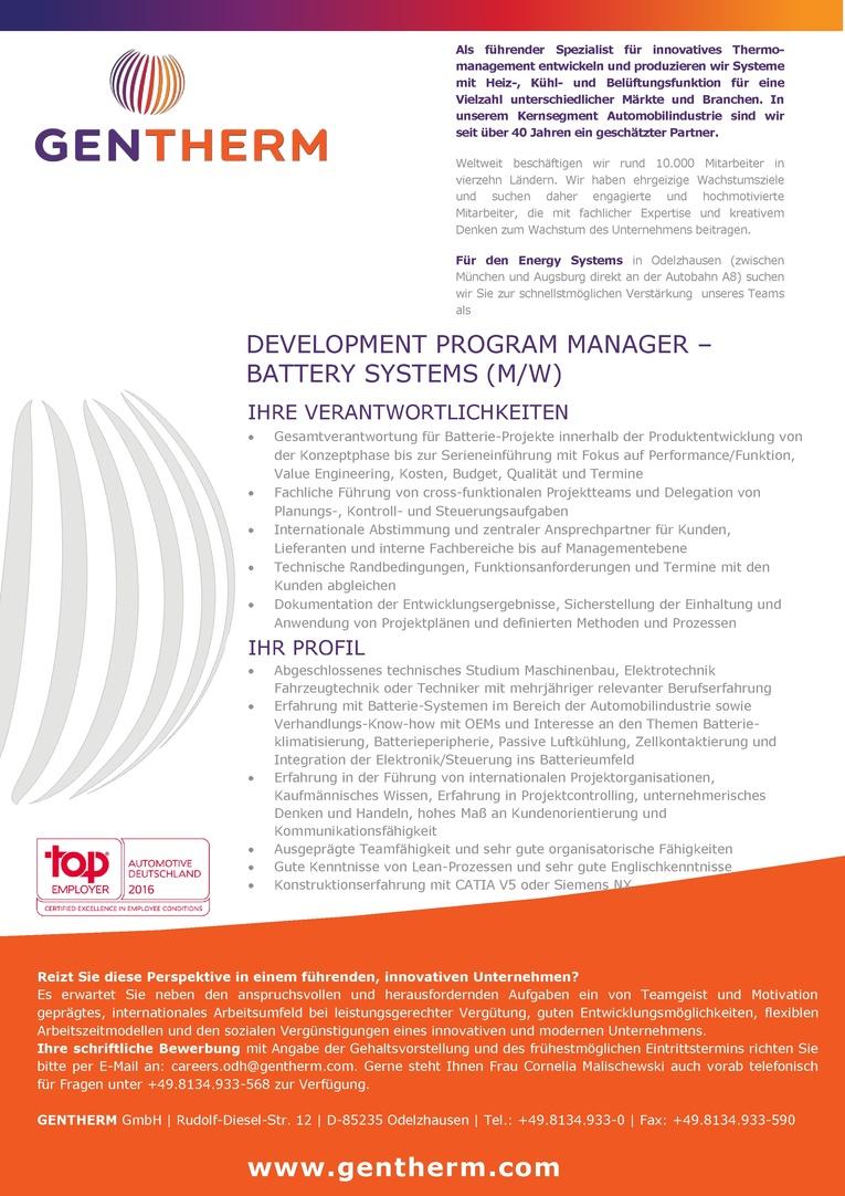 Development Program Manager - Battery Systems (m/w)