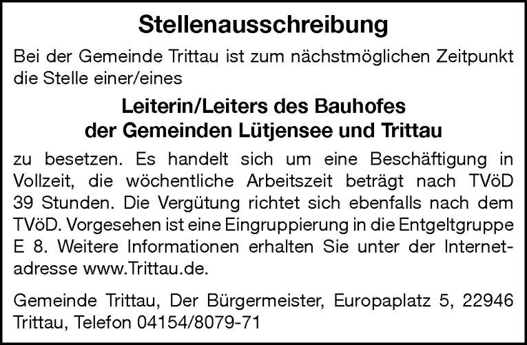 Leiterin/Leiter des Bauhofes