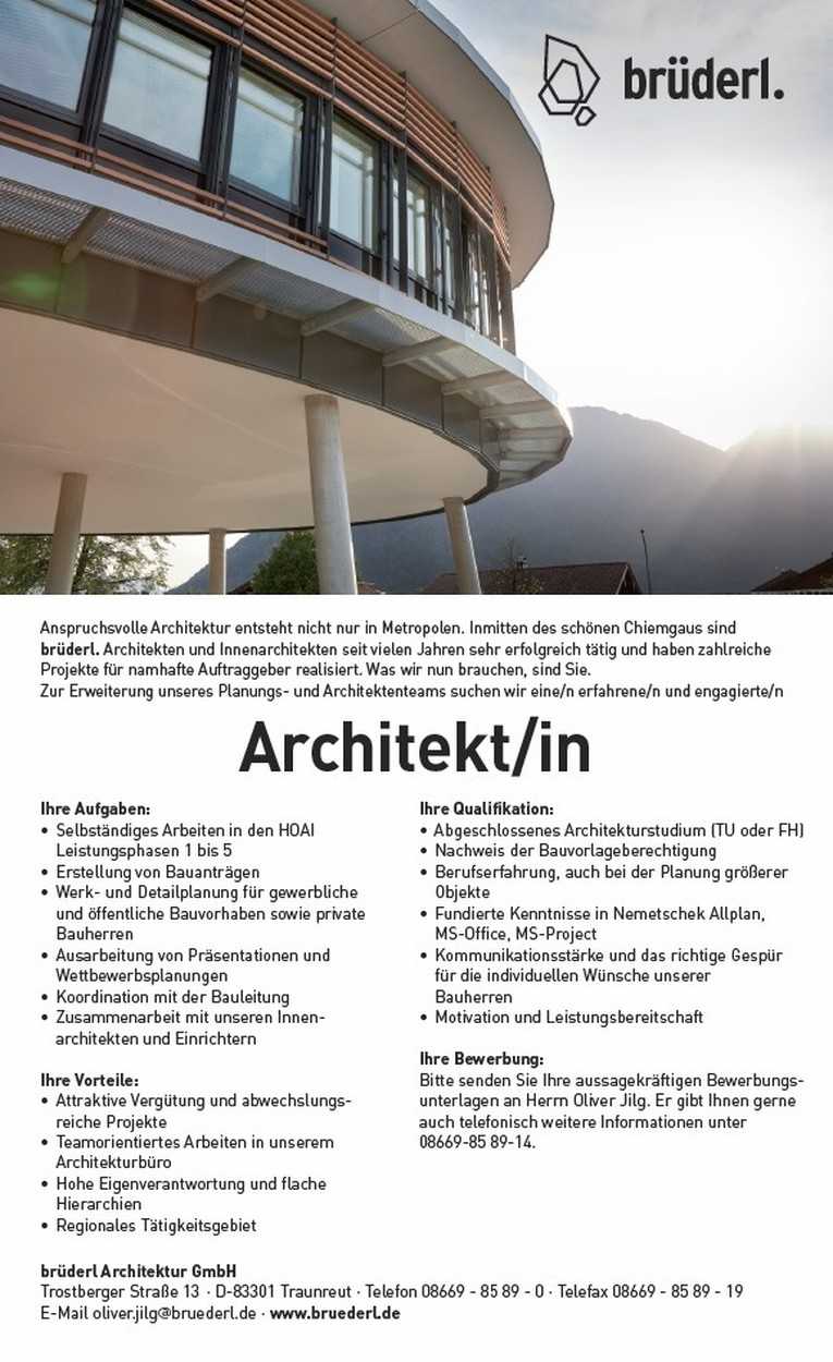 Brüderl Traunreut architekt in