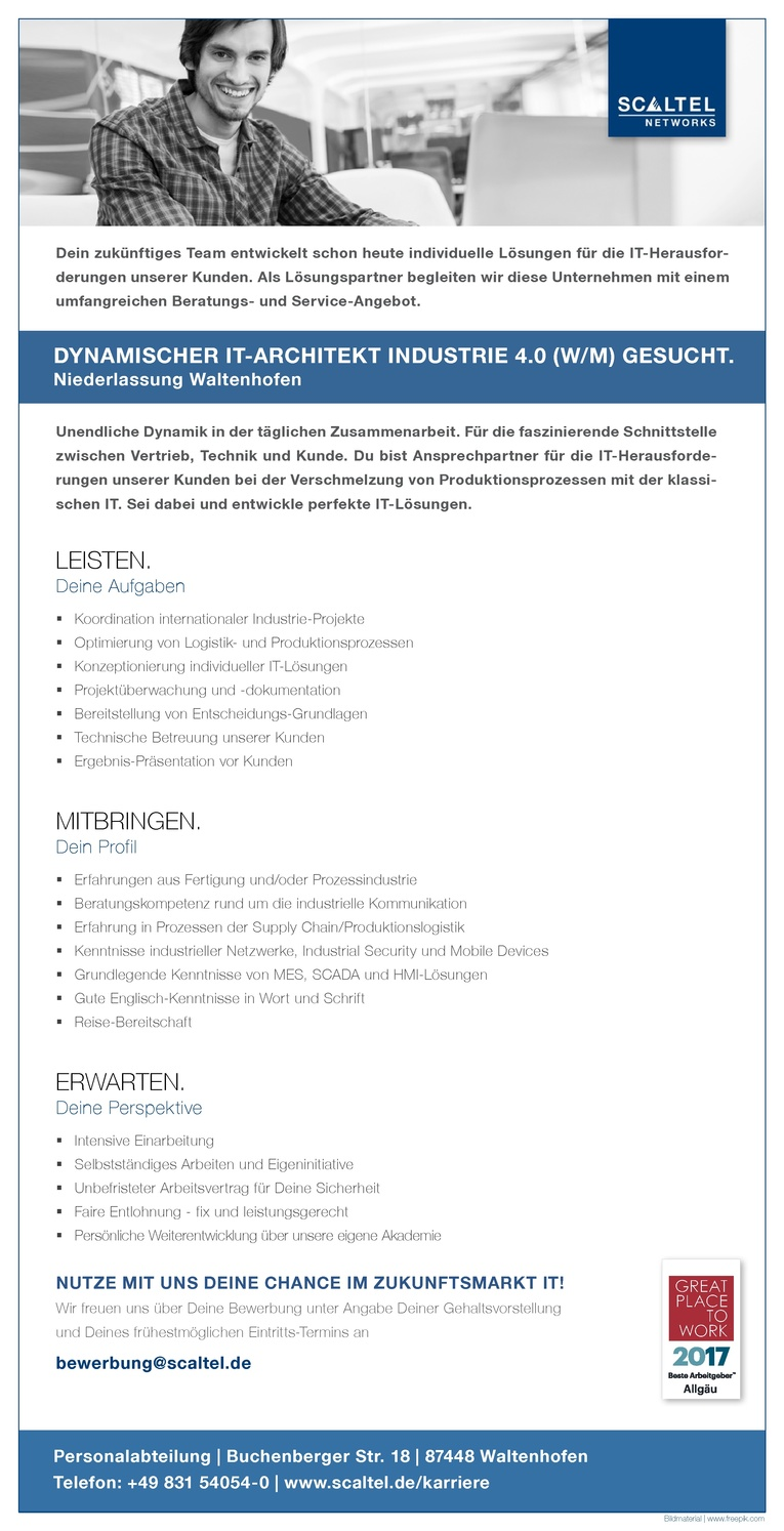 DYNAMISCHER IT-ARCHITEKT INDUSTRIE 4.0 (W/M)