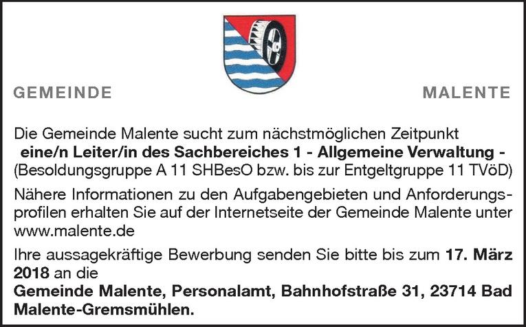Leiter/in des Sachbereiches 1 - Allgemeine Verwaltung