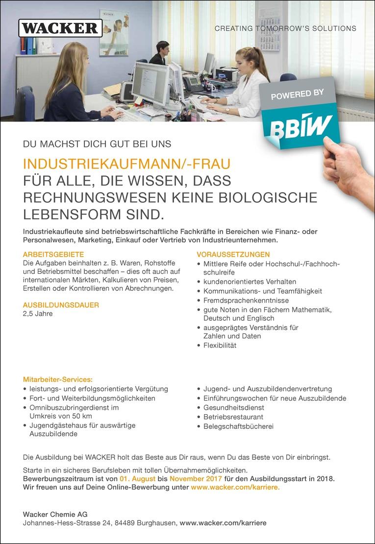 Ausbildung als Industriekaufmann/-frau