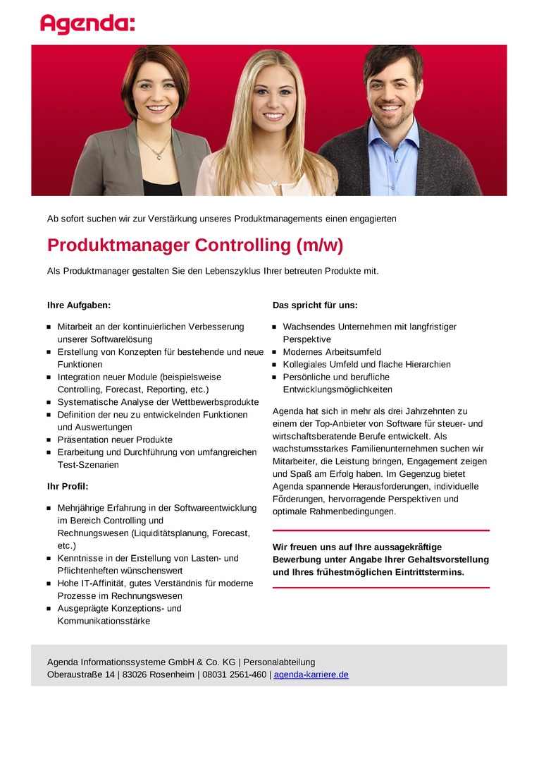 Produktmanager Controlling (m/w)