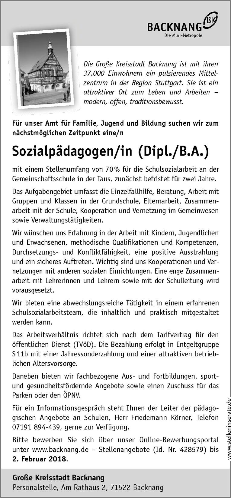 Sozialpädagogen/in (Dipl./B.A.)