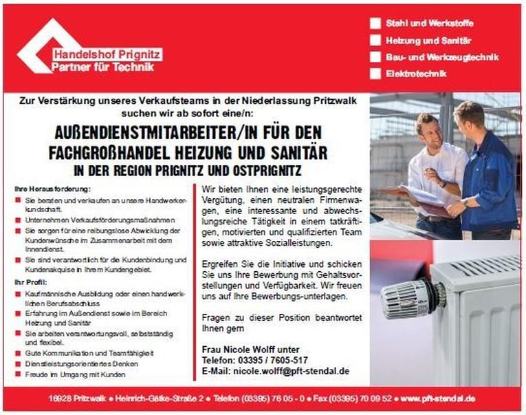 Außendienstmitarbeiter/in für den Fachgroßhandel Heizung und Sanitär