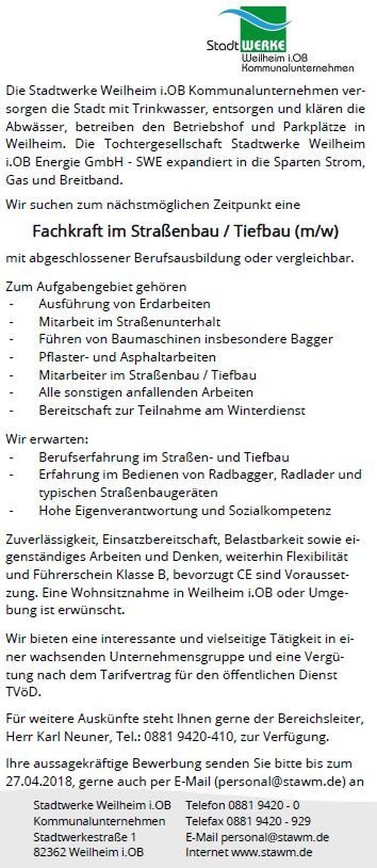 Fachkraft im Straßenbau / Tiefbau (m/w)