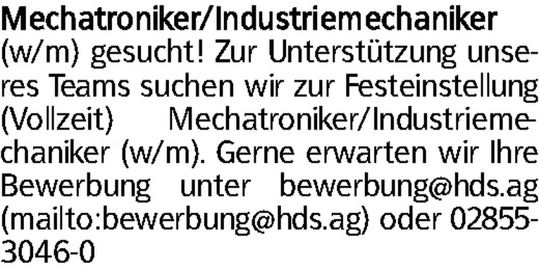 Mechatroniker/Industriemechaniker (w/m)