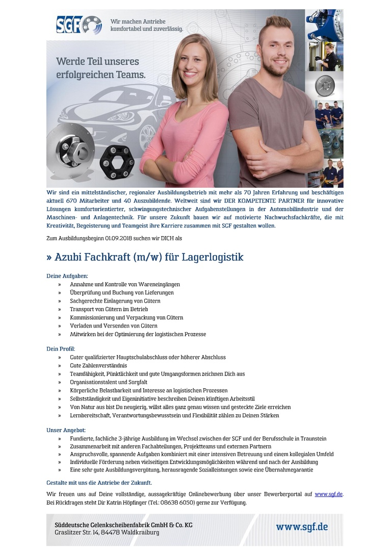 Azubi Fachkraft (m/w) für Lagerlogistik