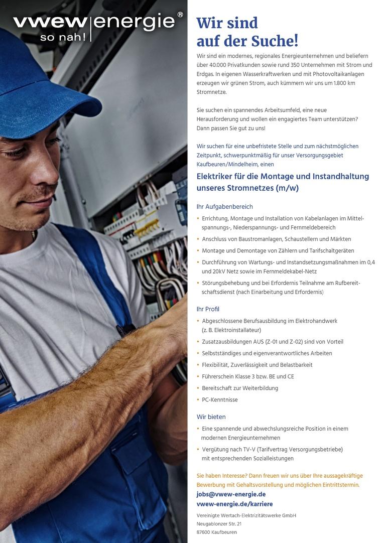 Elektriker für die Montage und Instandhaltung unseres Stromnetzes (m/w)