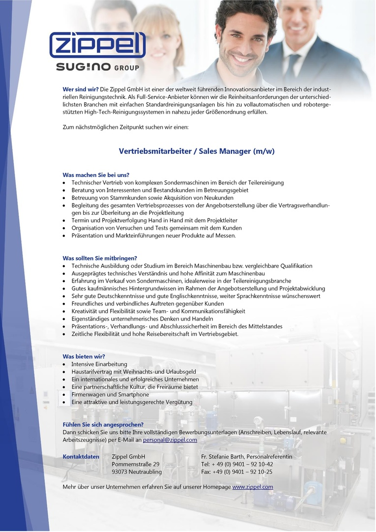 Vertriebsmitarbeiter / Sales Manager (m/w)
