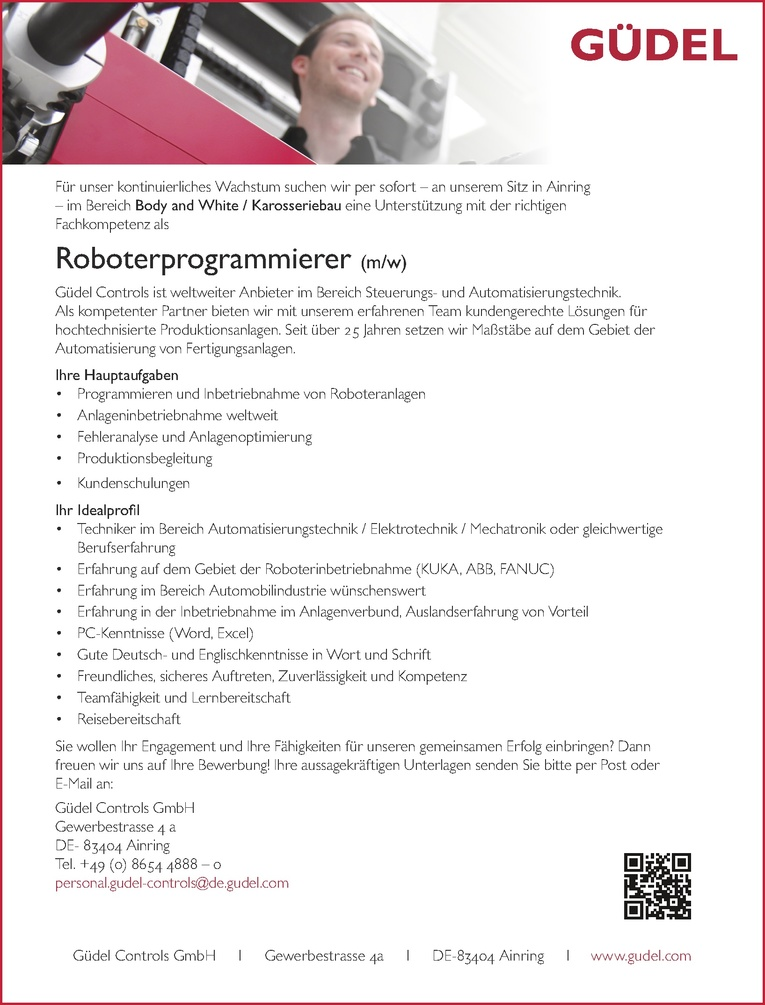 Roboterprogrammierer (m/w)