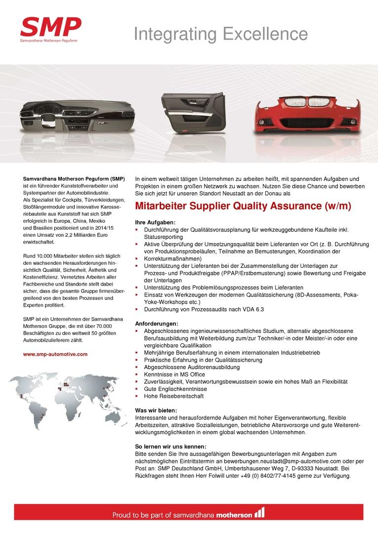 Mitarbeiter Supplier Quality Assurance (w/m)
