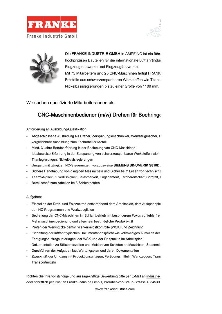 cnc maschinenbediener mw drehen fr boehringer dus 1110ti - Bewerbung Zerspanungsmechaniker