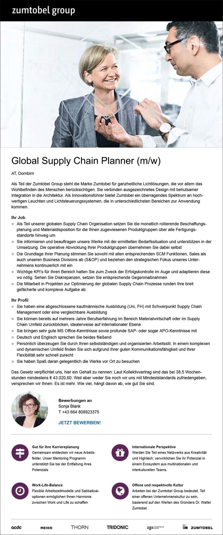 Global Supply Chain Planner (m/w) in Dornbirn