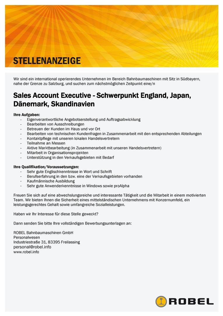 Sales Account Executive - Schwerpunkt England, Japan, Dänemark, Skandinavien
