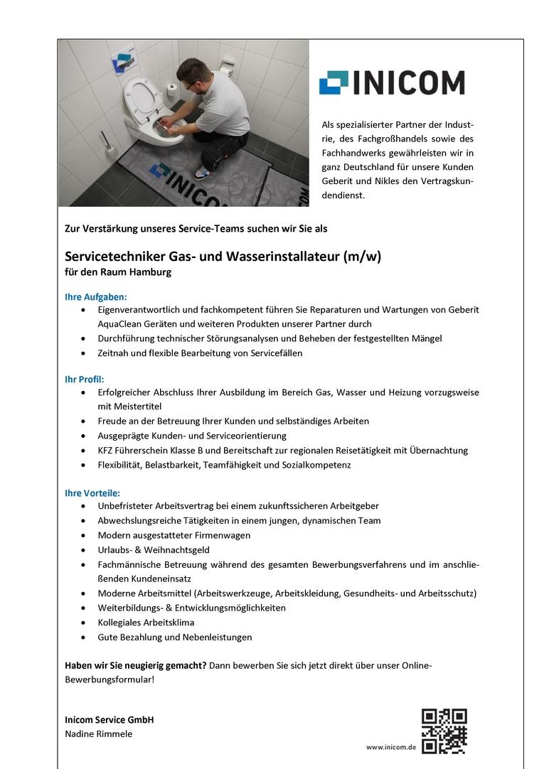 Job Servicetechniker Gas Und Wasserinstallateur Mw