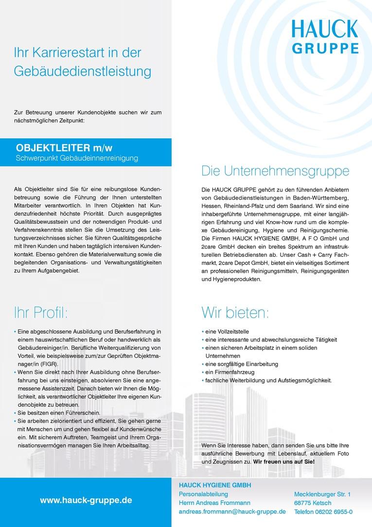 Objektleiter / Objektleiterin