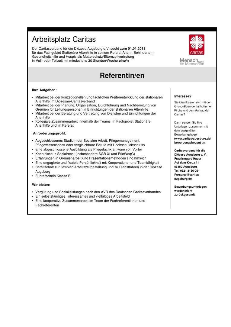 Referent/in im Fachgebiet Stationäre Altenhilfe