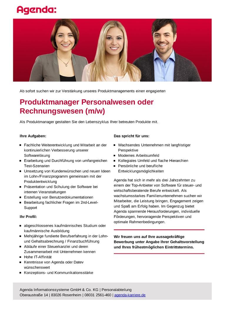Produktmanager Personalwesen oder Rechnungswesen (m/w)
