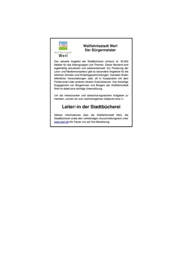 Leitung der Stadtbücherei in Vollzeit oder Teilzeit – EG 9c TVöD