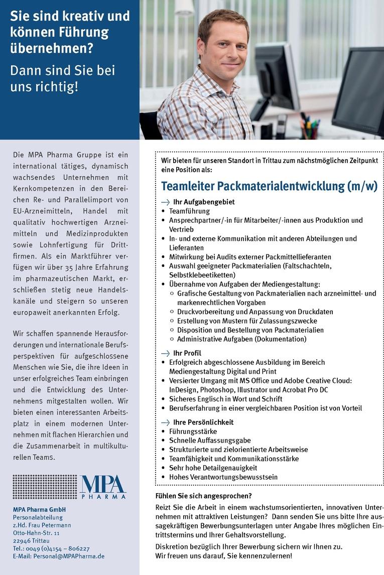 Teamleiter Packmaterialentwicklung (m/w)