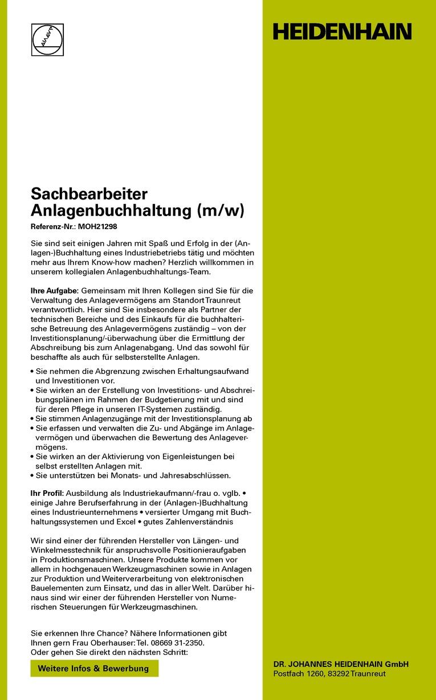 Sachbearbeiter Anlagenbuchhaltung (m/w)